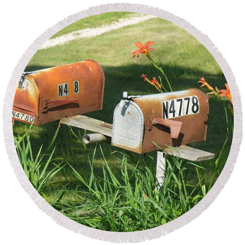 Mailboxes Round Beach Towel featuring the photograph Mail Boxes by Diane Greco-Lesser