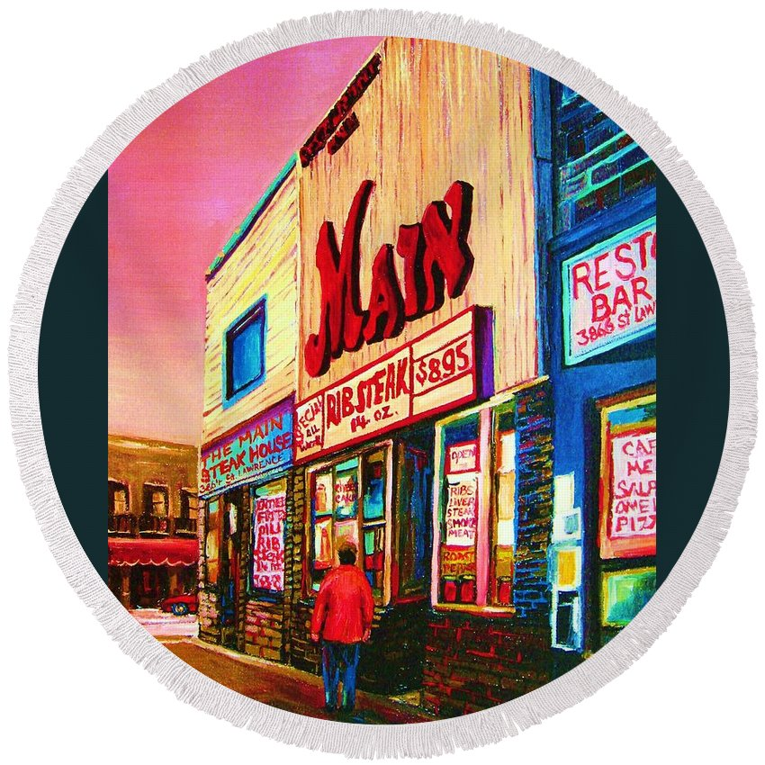 Montreal Round Beach Towel featuring the painting Main Steakhouse Blvd.st.laurent by Carole Spandau