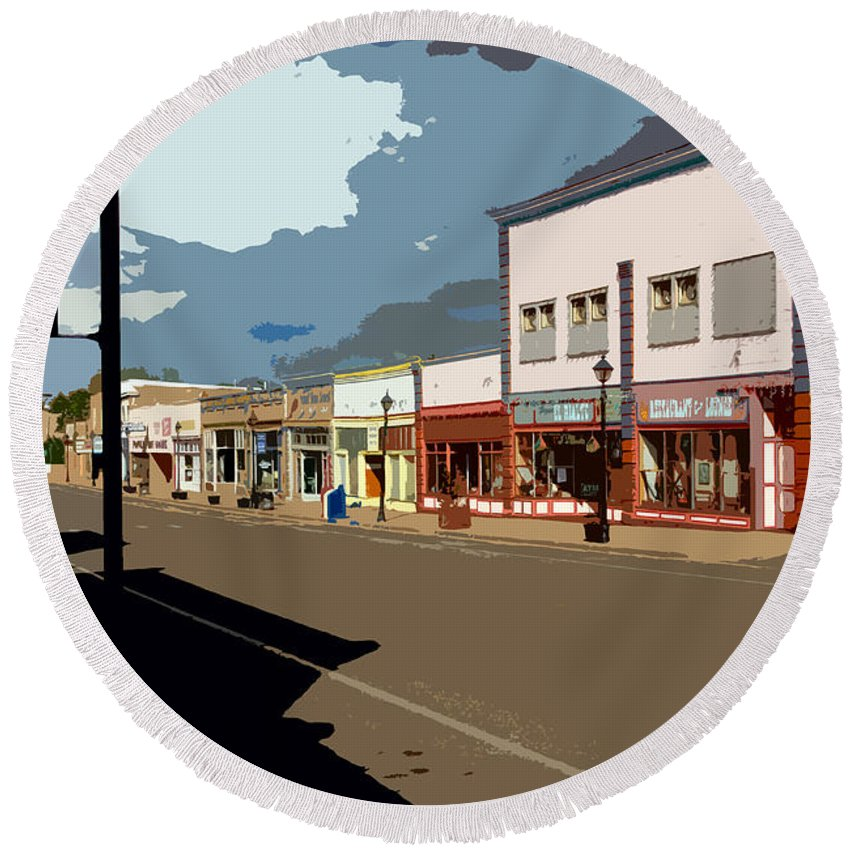 Main Street Round Beach Towel featuring the painting Main Street by David Lee Thompson