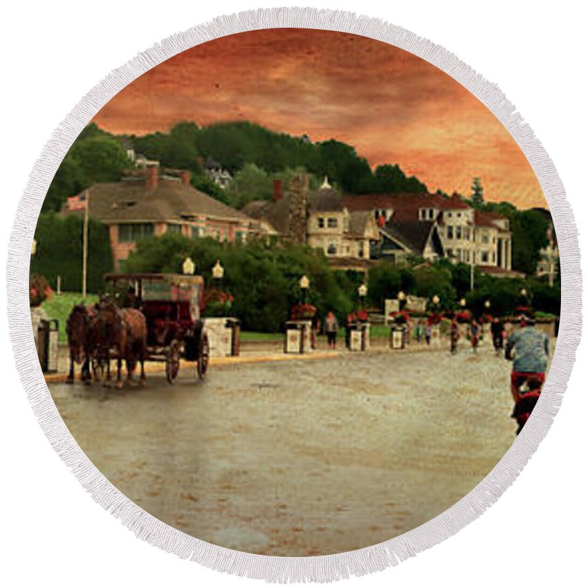 Mackinac Round Beach Towel featuring the photograph Main Street Mackinac Island Michigan Panorama Textured by Thomas Woolworth
