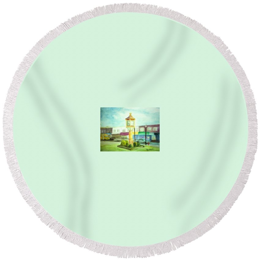 Clock Round Beach Towel featuring the painting Main Street by Sheila Mashaw
