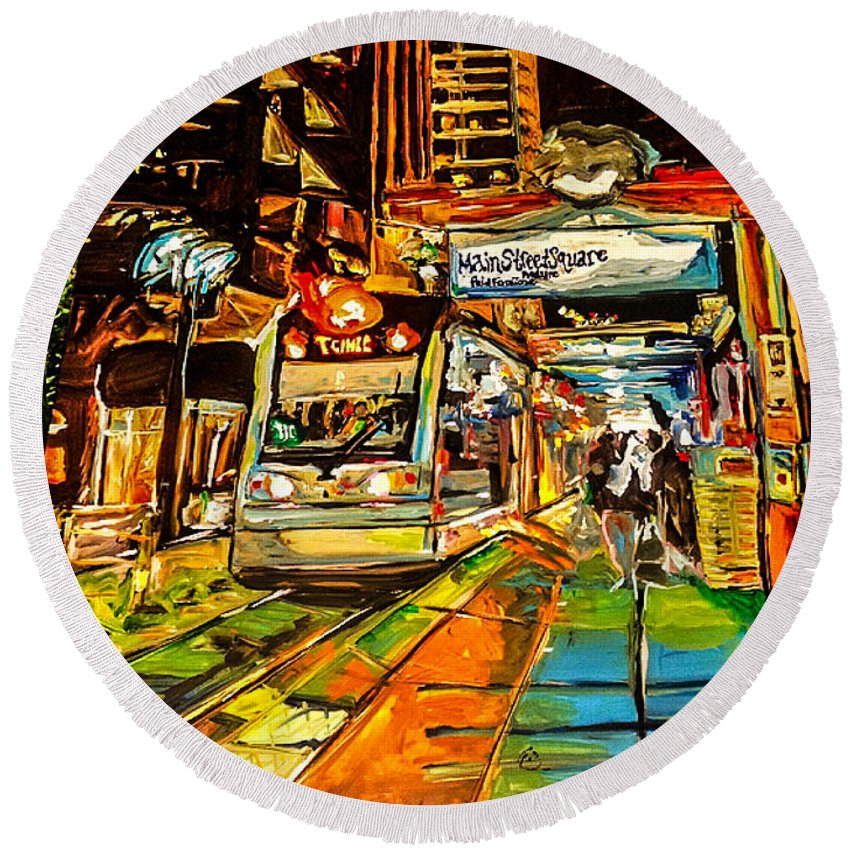 Painting Round Beach Towel featuring the painting Main Street Square by Paula Baker