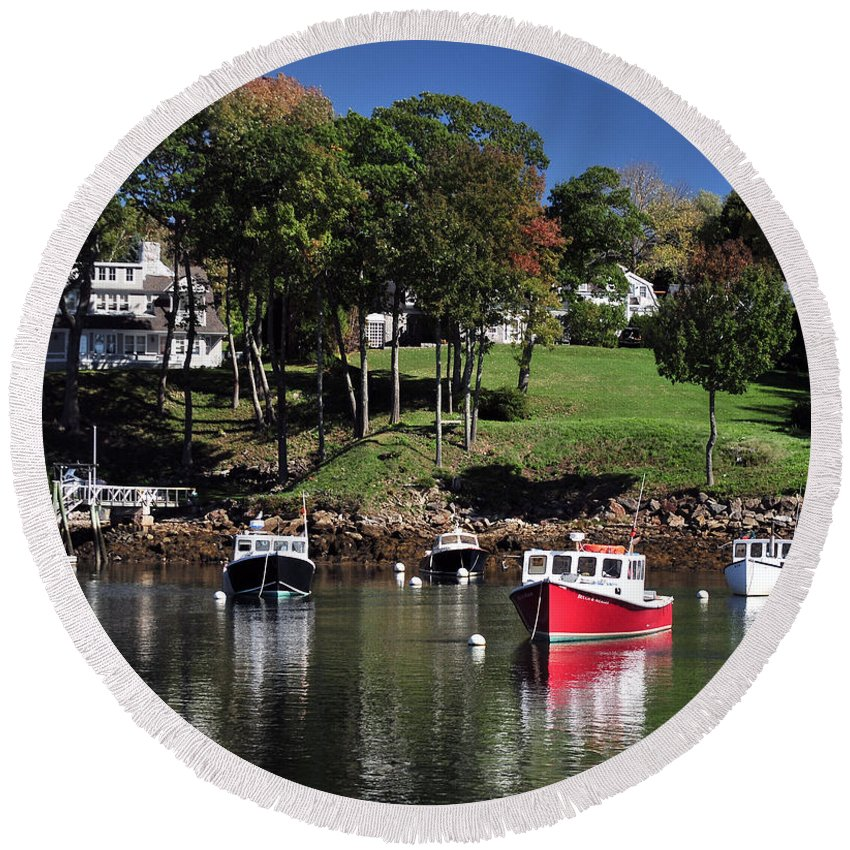 Maine Round Beach Towel featuring the photograph maine 18 Rock Port harbor View by Terri Winkler