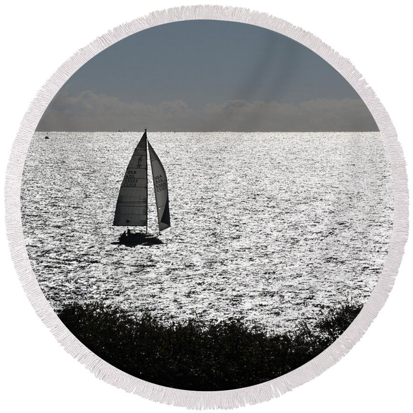 Maine Round Beach Towel featuring the photograph maine 44 Sailboat by Terri Winkler