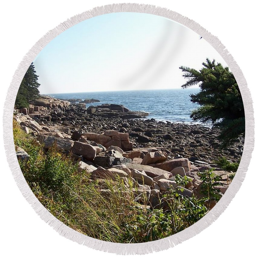 Maine Round Beach Towel featuring the photograph Maine Atlantic Ocean Coast by Holly Eads