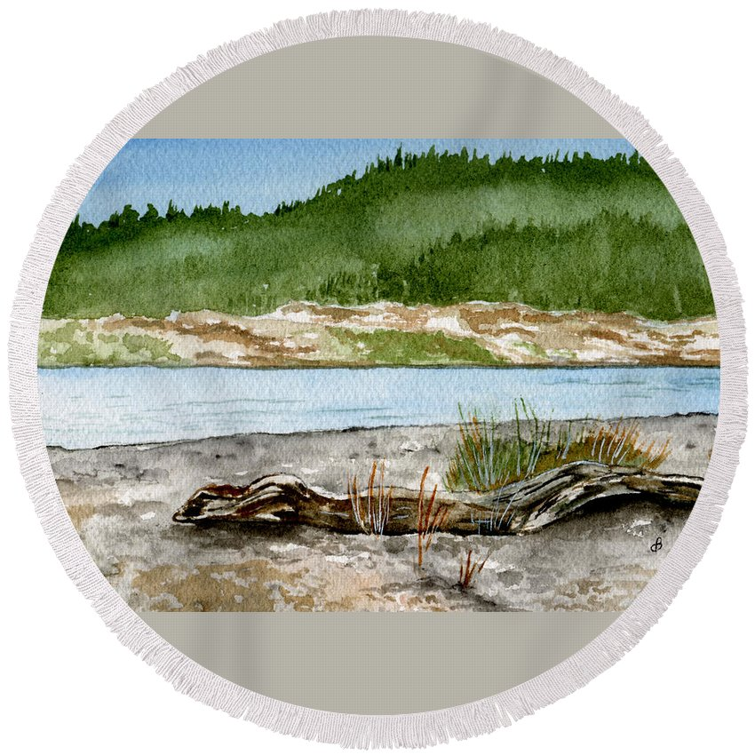 Landscape Round Beach Towel featuring the painting Maine Beach Wood by Brenda Owen