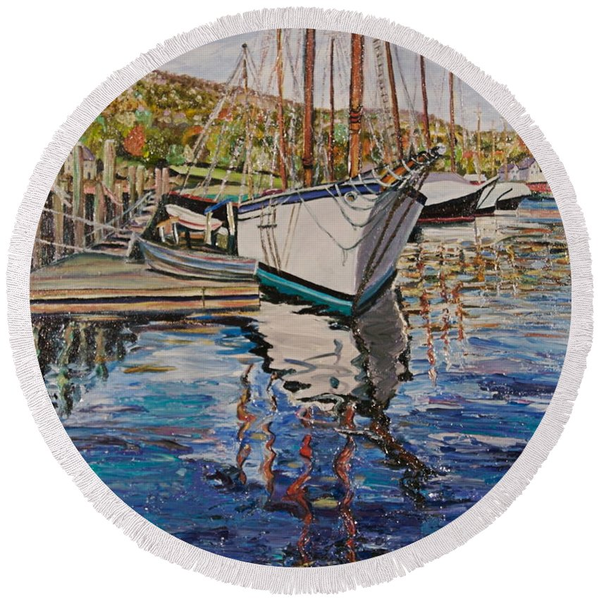 Maine Round Beach Towel featuring the painting Maine Coast Boat Reflections by Richard Nowak