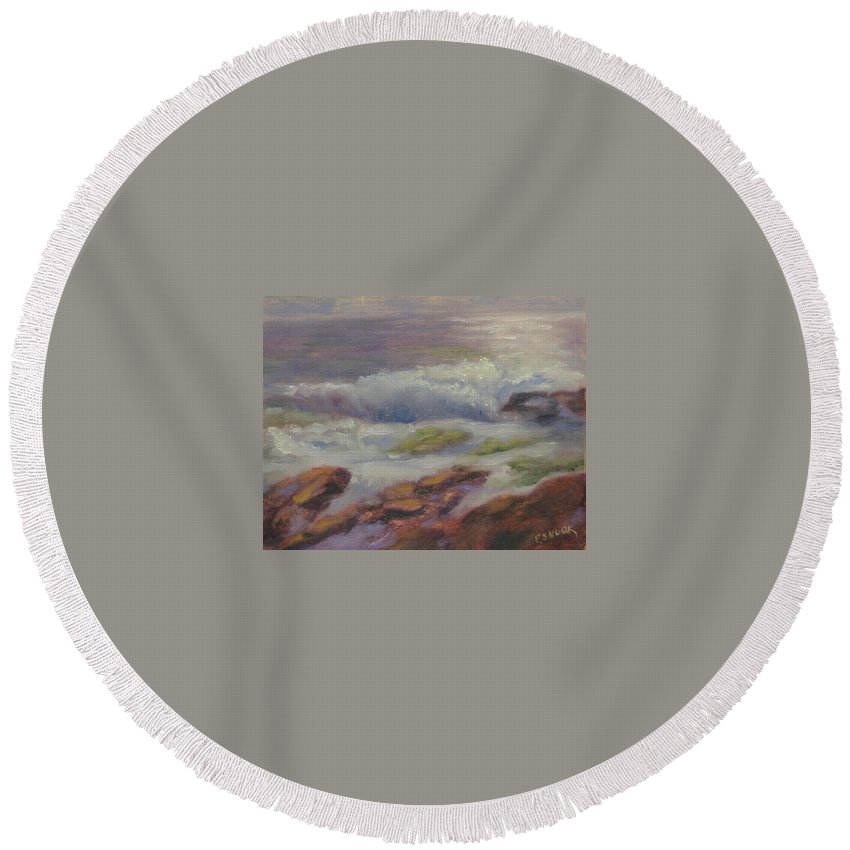 Seascape Round Beach Towel featuring the painting Maine Coast by Pat Snook