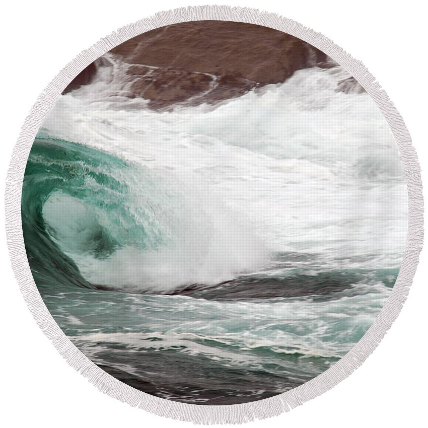 Round Beach Towel featuring the photograph Maine Coast Storm Waves 1 Of 3 by Terri Winkler