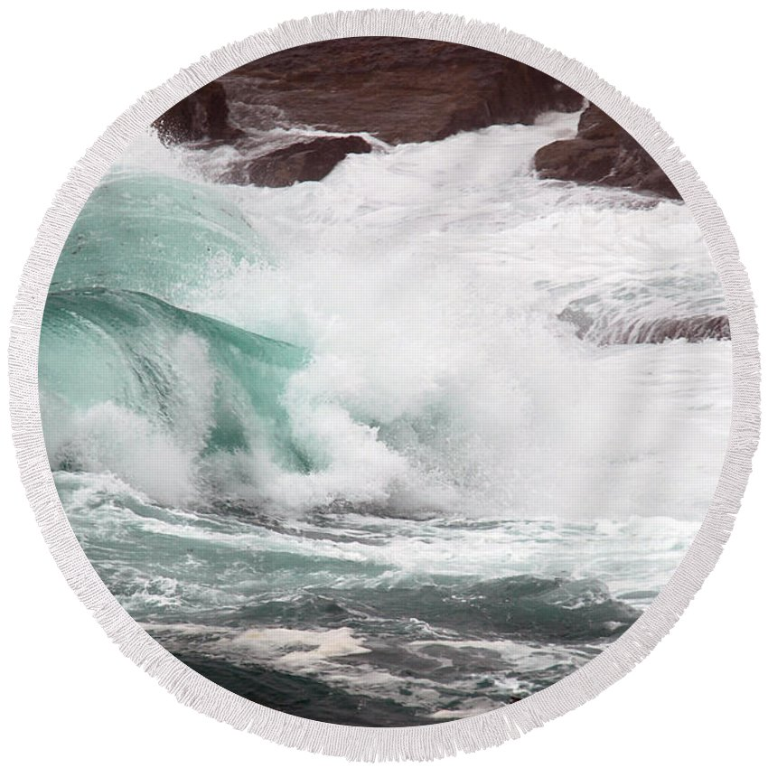 Round Beach Towel featuring the photograph Maine Coast Storm Waves 2 Of 3 by Terri Winkler