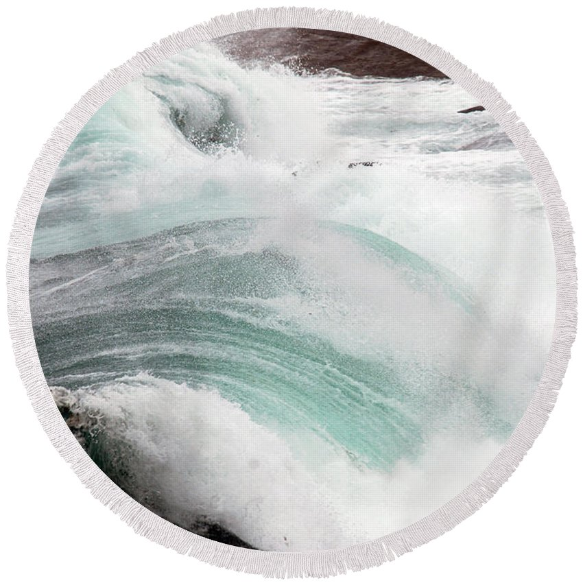 Round Beach Towel featuring the photograph Maine Coast Storm Waves 3 Of 3 by Terri Winkler