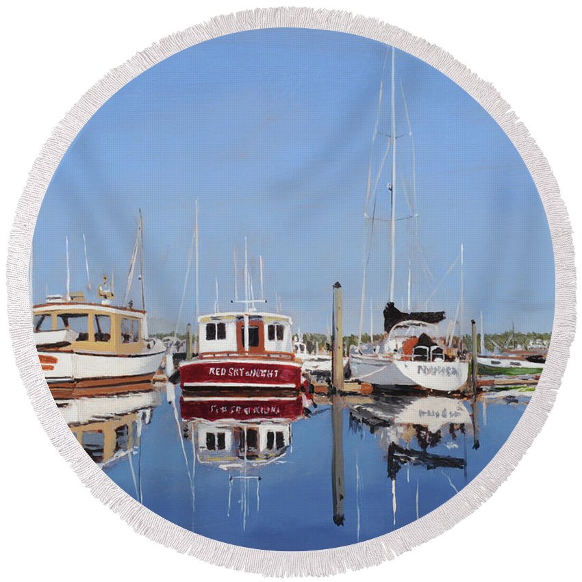 Maine Round Beach Towel featuring the painting Maine Marina Evening by Craig Morris