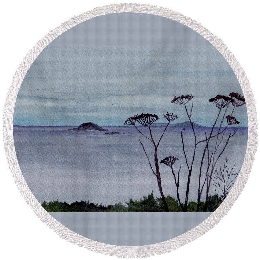 Landscape Watercolor Sea Ocean Sky Cloudy Flower Weed Round Beach Towel featuring the painting Maine Moody Distance by Brenda Owen