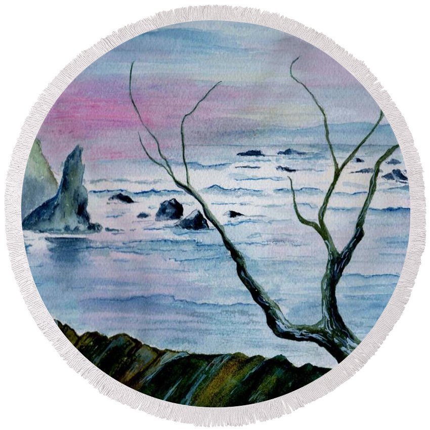 Watercolor Round Beach Towel featuring the painting Maine Seawatch by Brenda Owen