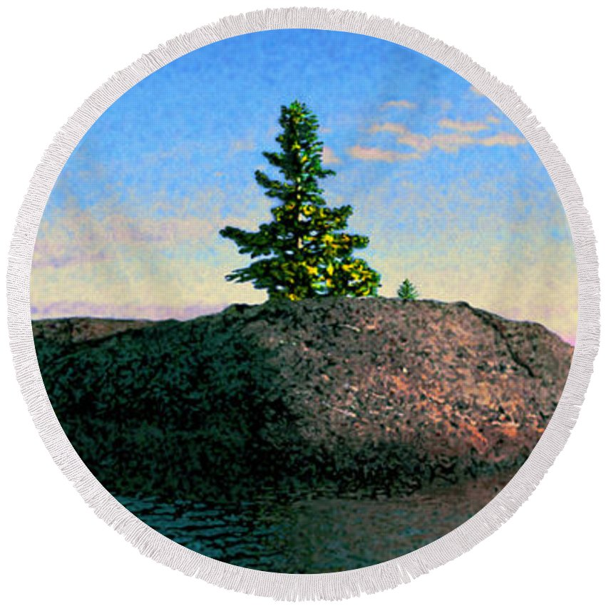 Maine Round Beach Towel featuring the photograph Maine Stone Island Sunrise by Ed A Gage