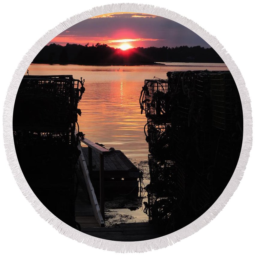 Color Round Beach Towel featuring the photograph Maine Sunset And Traps by Bill Tomsa