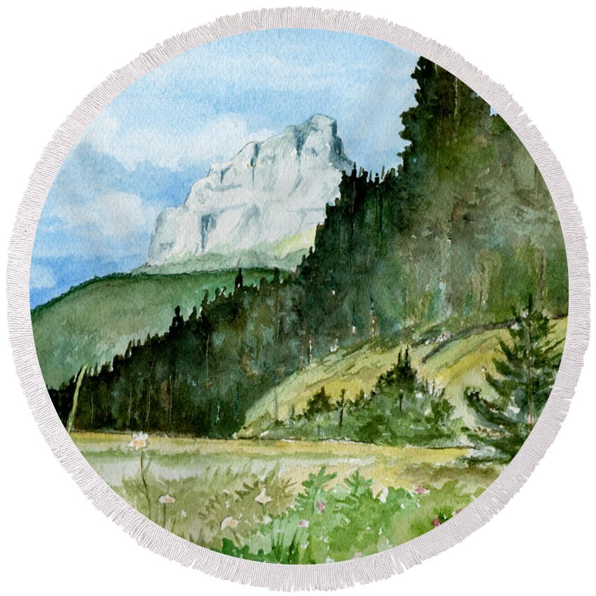 Landscape Round Beach Towel featuring the painting Majestic by Brenda Owen