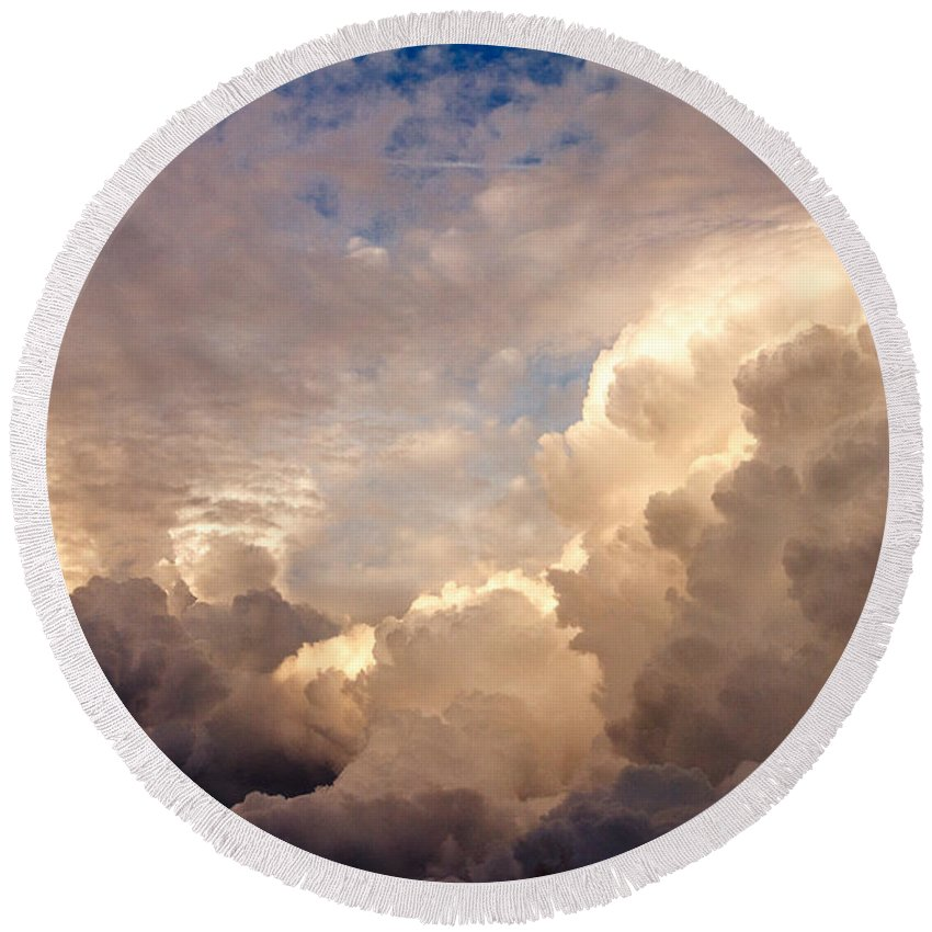 Clearwater Round Beach Towel featuring the photograph Majestic Clouds by Jane Luxton