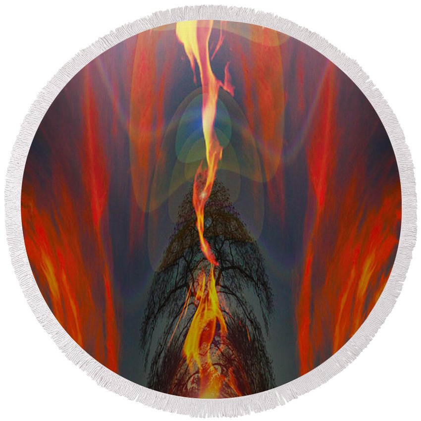 Abstract Round Beach Towel featuring the photograph Majestic Fire by Mykel Davis