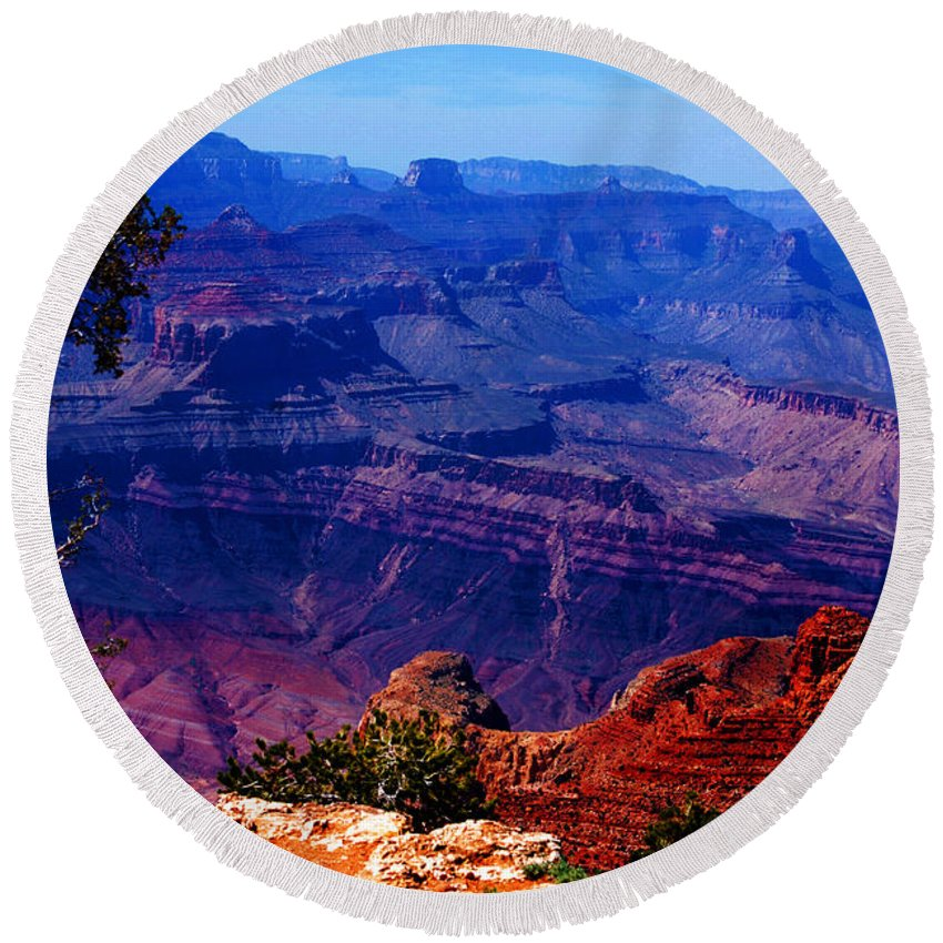 Majestic Round Beach Towel featuring the photograph Majestic Grand Canyon by Susanne Van Hulst