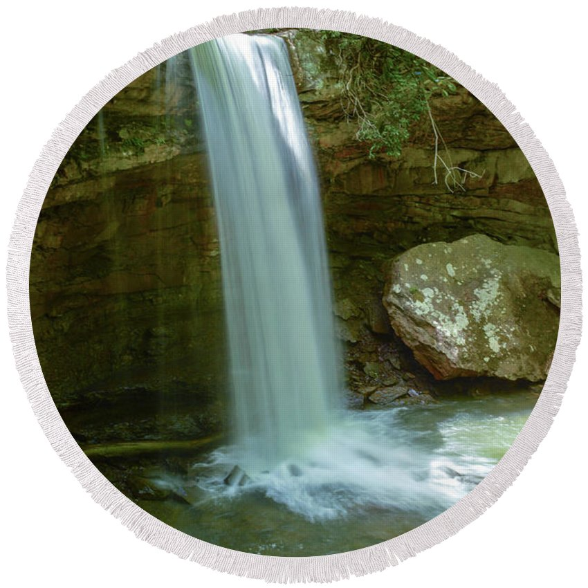 Ohiopyle Round Beach Towel featuring the photograph Majestic Pennsylvania Falls by Jake Donaldson