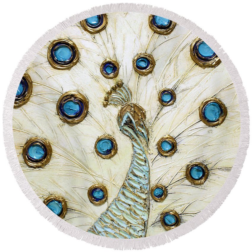 Peacock Round Beach Towel featuring the painting Majestic by Susanna Shaposhnikova