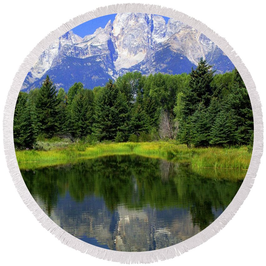 Grand Teton National Park Round Beach Towel featuring the photograph Majestic Tetons by Marty Koch