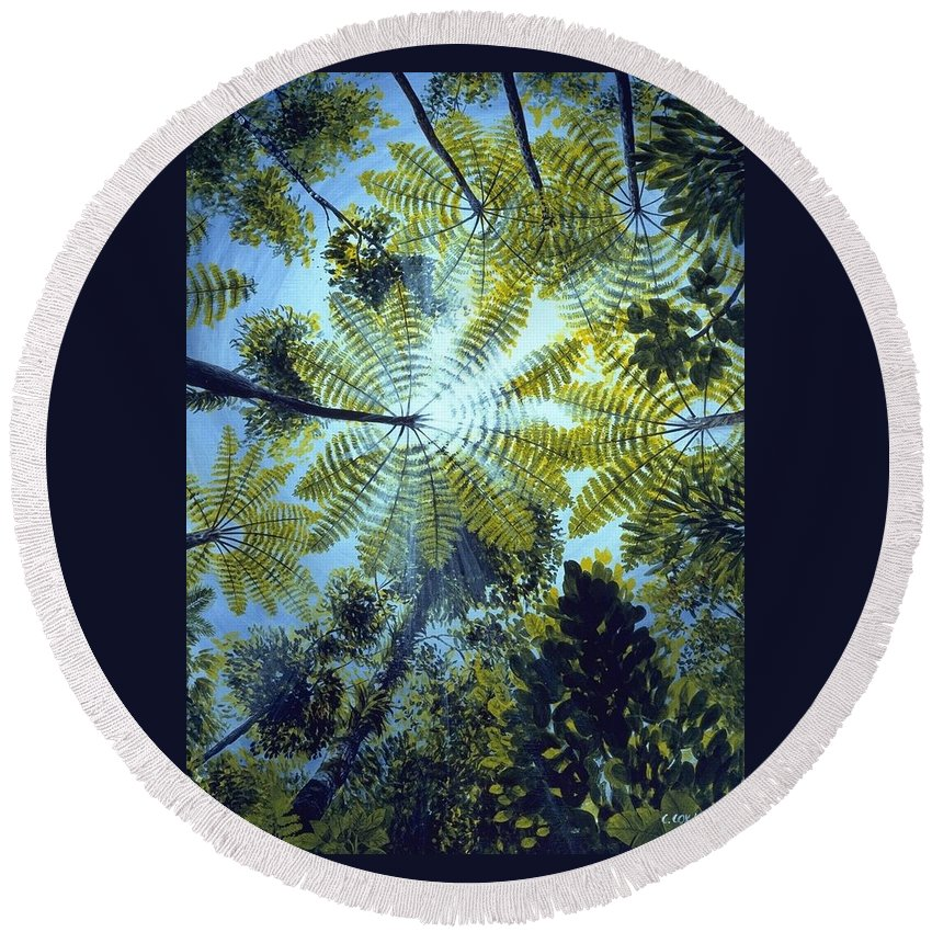 Chris Cox Round Beach Towel featuring the painting Majestic Treeferns by Christopher Cox