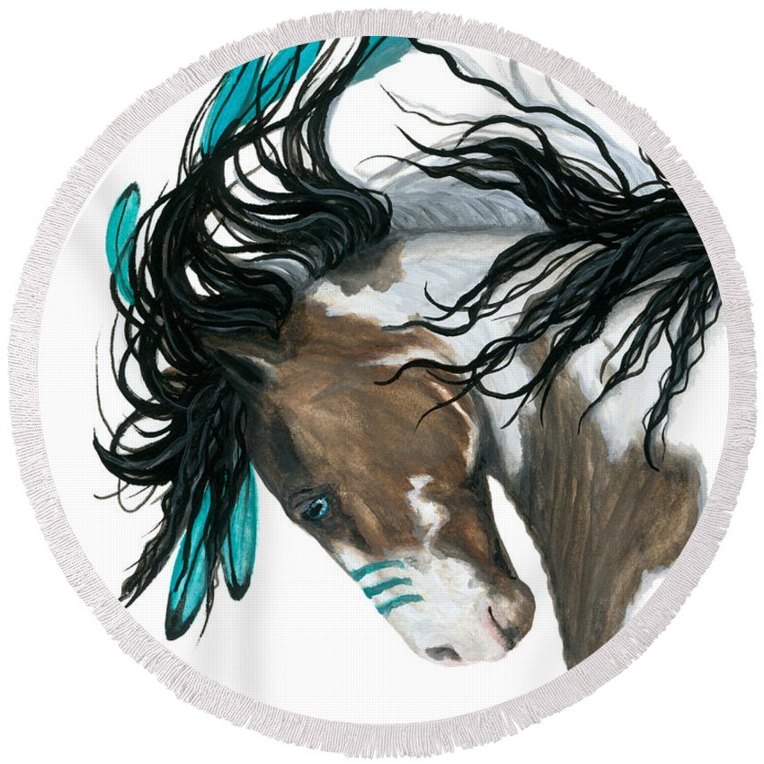 Turquoise Round Beach Towel featuring the painting Majestic Turquoise Horse by AmyLyn Bihrle