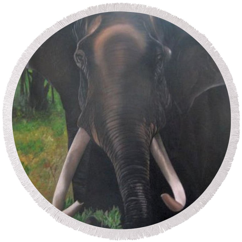 Elephant Round Beach Towel featuring the painting Majestic by Usha Rai