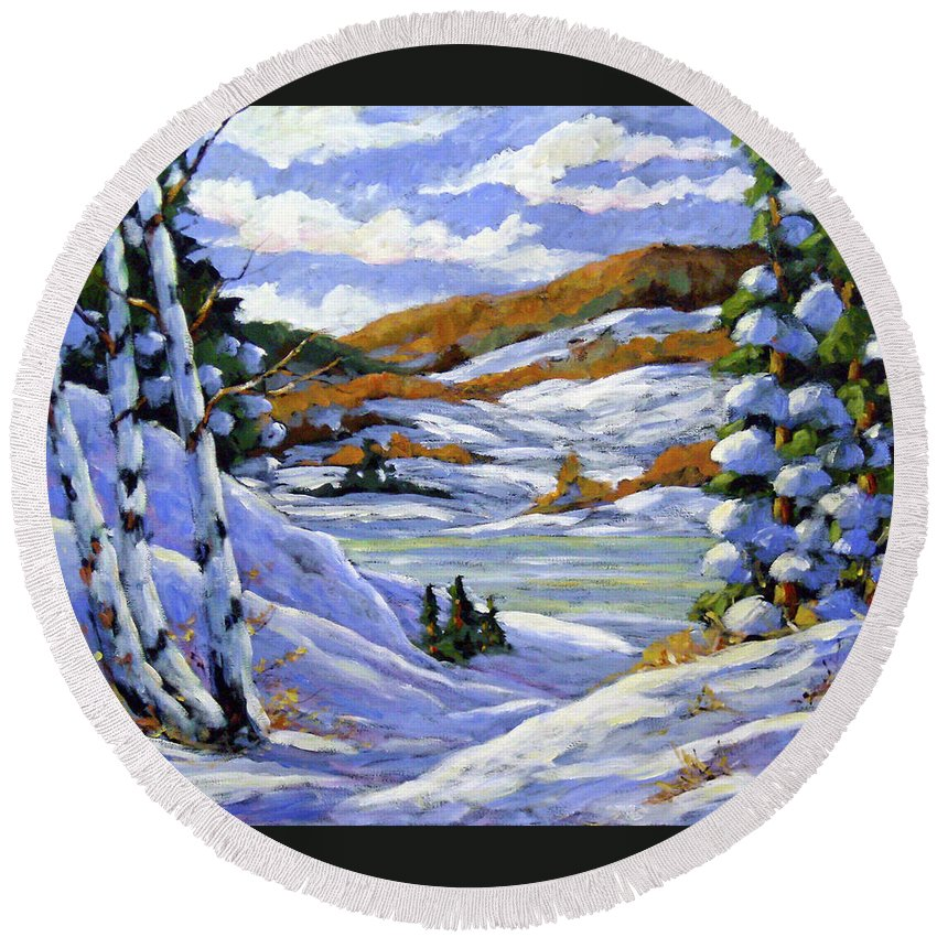 Art Round Beach Towel featuring the painting Majestic Winter by Richard T Pranke