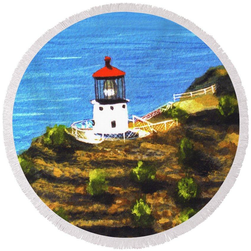 Hawaii Makapuu Lighthouse Painting Art Prints For Sale Hawaii Artist Donald K. Hall Hawaiian Art Paintings Round Beach Towel featuring the painting Makapuu Lighthouse #78, by Donald k Hall