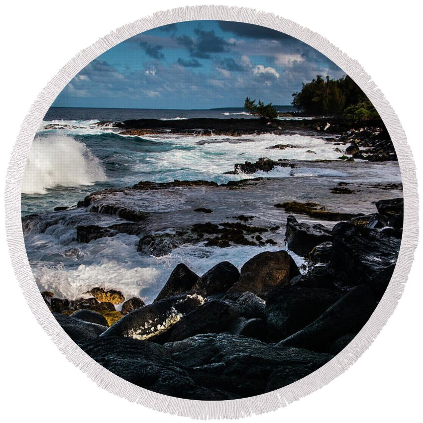 Landscape Round Beach Towel featuring the photograph Makuu Cliffs by David Creagh