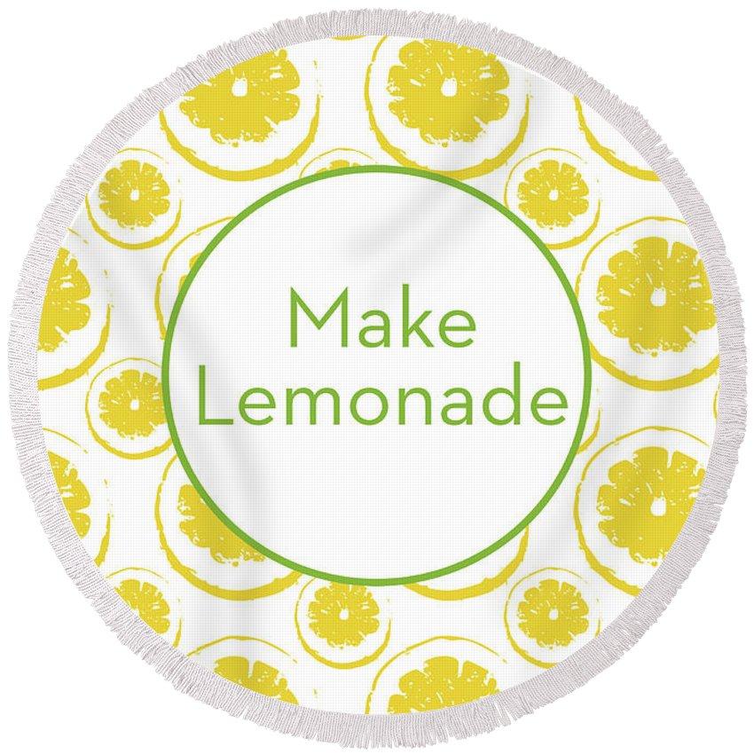 Lemons Round Beach Towel featuring the mixed media Make Lemonade 3- Art By Linda Woods by Linda Woods