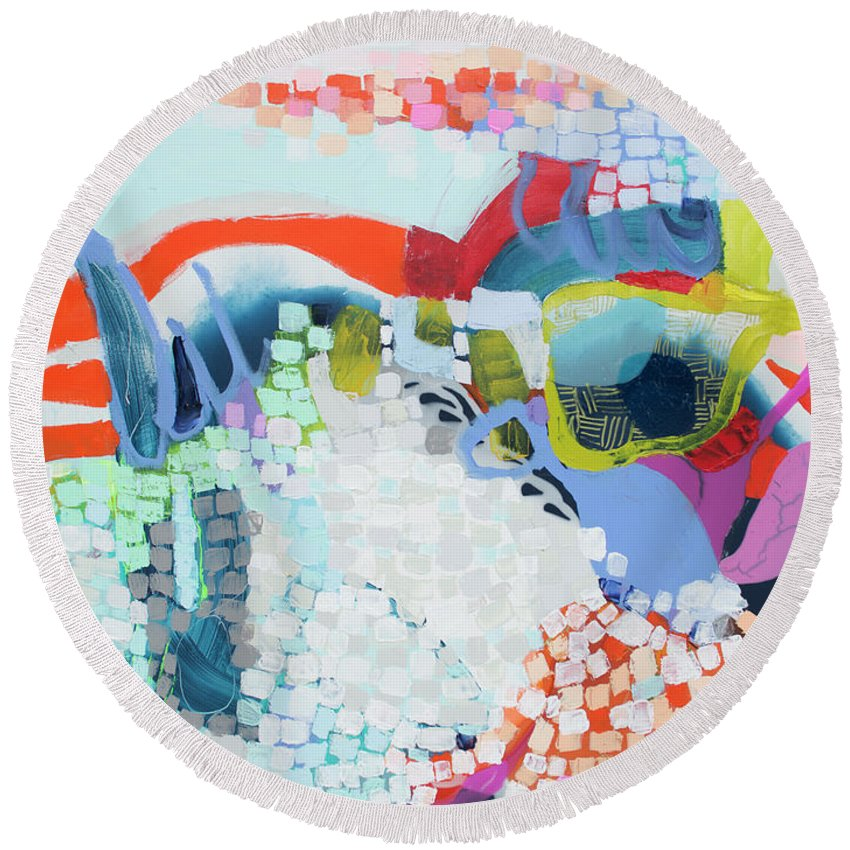 Abstract Round Beach Towel featuring the painting Make Some Noise by Claire Desjardins