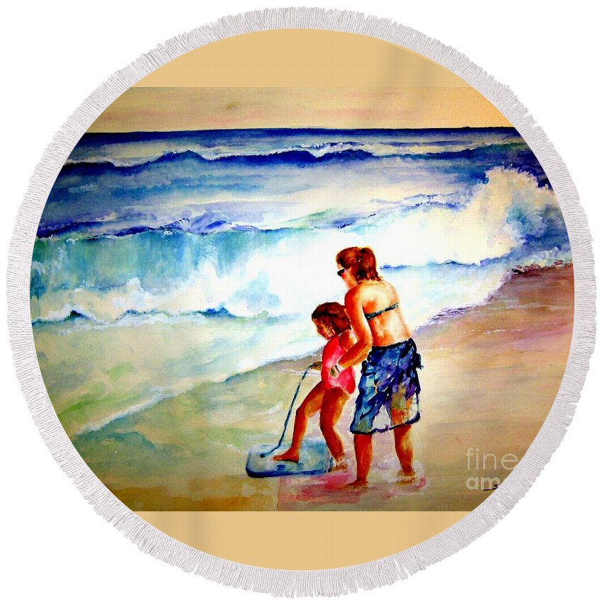 Beach Surf Round Beach Towel featuring the painting Making A Memory by Sandy Ryan