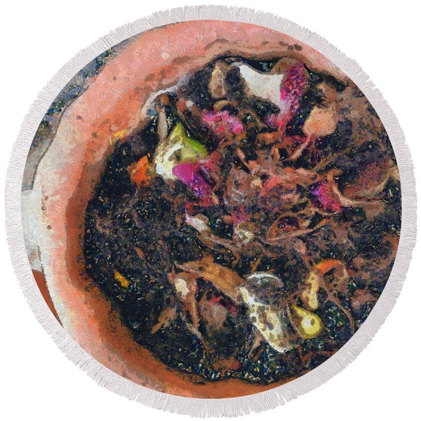 Compost Round Beach Towel featuring the photograph Making Compost Out Of Garbage by Ashish Agarwal