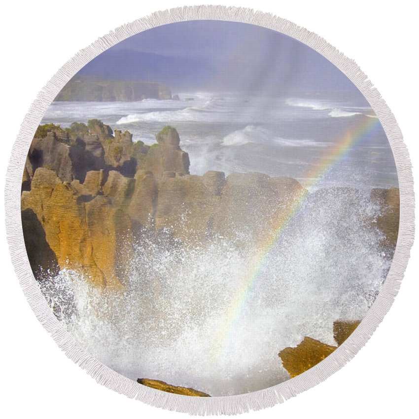 Paparoa Round Beach Towel featuring the photograph Making Miracles by Mike Dawson