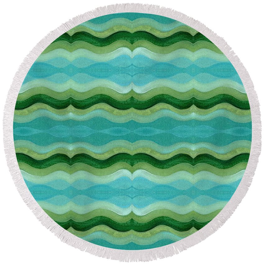 Water Round Beach Towel featuring the mixed media Making Waves by Helena Tiainen