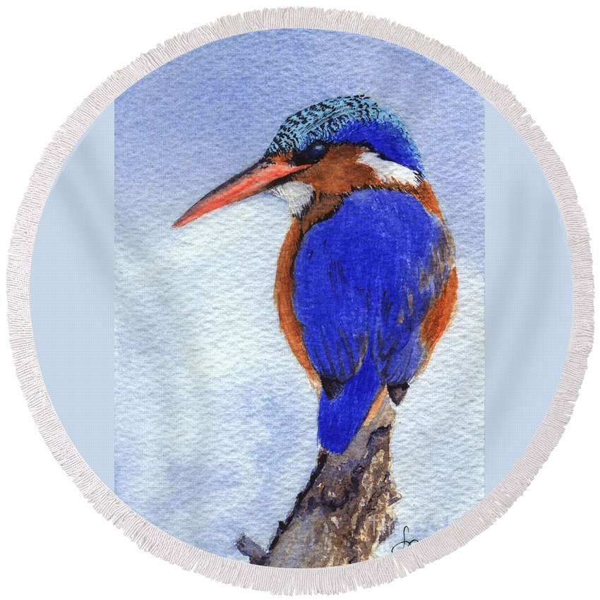 Bird Round Beach Towel featuring the painting Malachite Kingfisher by Lynn Quinn