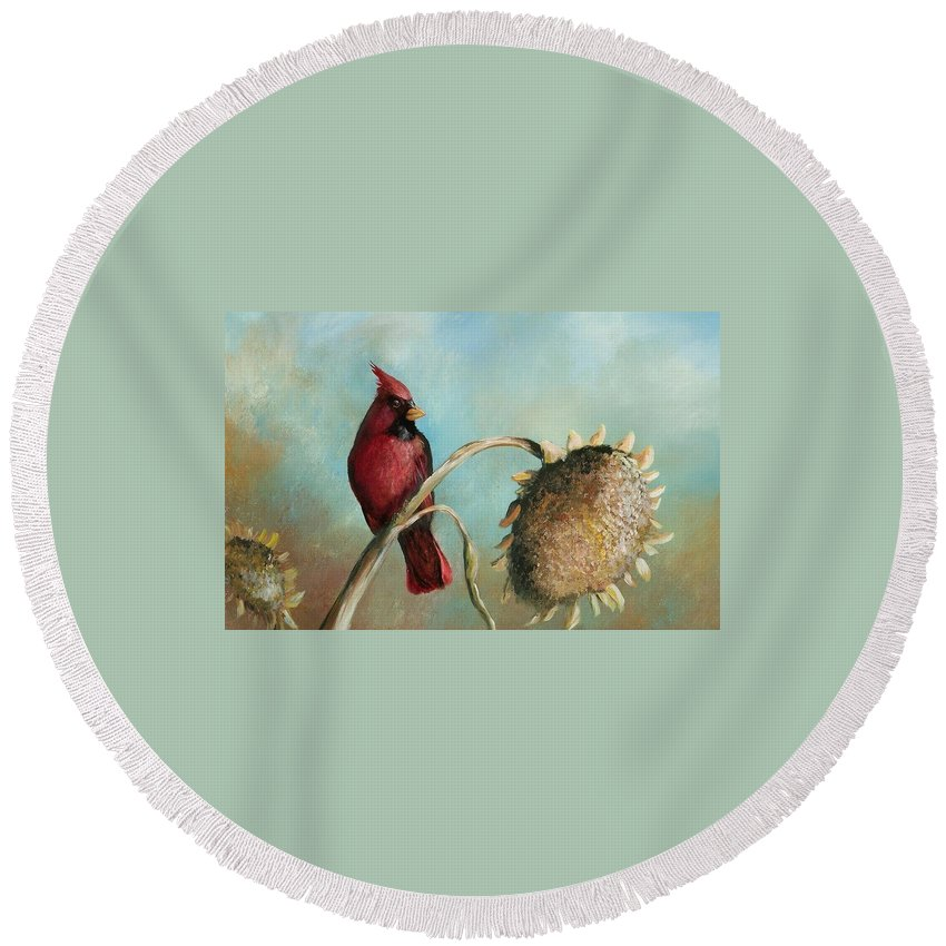 Birds Round Beach Towel featuring the painting Male Cardinal by Jane Harris