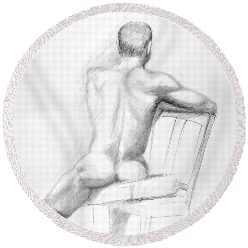 Male Round Beach Towel featuring the drawing Male Nude With Chair by Keith Burgess