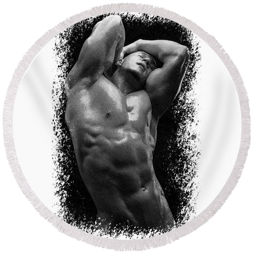 Nude Round Beach Towel featuring the photograph Male Torso #4 by Karl Knox Images
