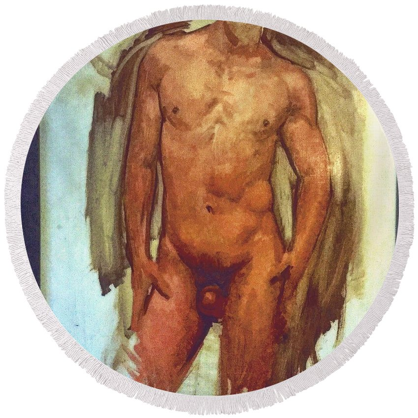 Michaellane Round Beach Towel featuring the painting Male Torso Study by Michael Lane