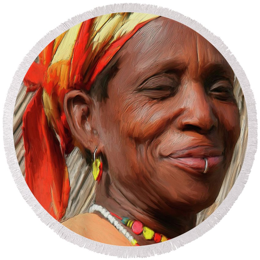 African Round Beach Towel featuring the painting Maleea by Dominic Piperata