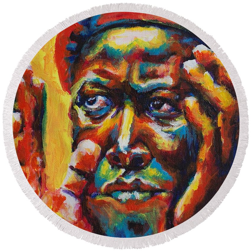 Malema Round Beach Towel featuring the painting Malema by Larry Ger