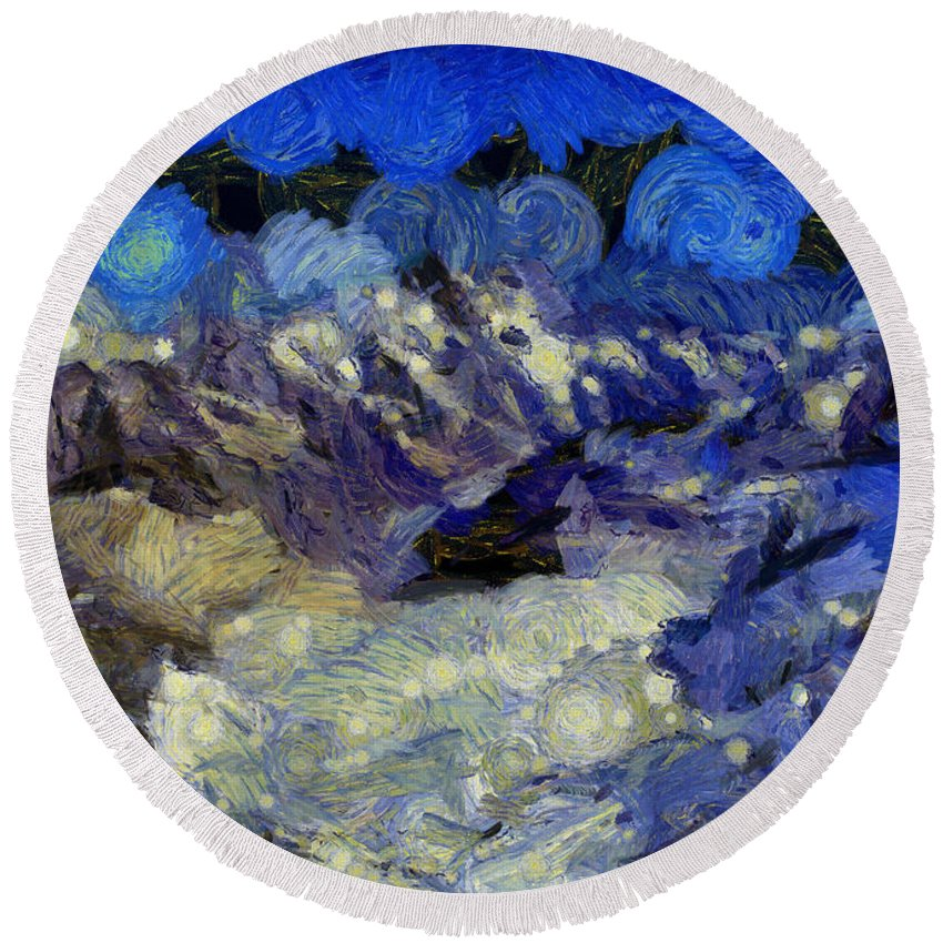 Abstract Round Beach Towel featuring the photograph Malestorm In The Snow by Ashish Agarwal