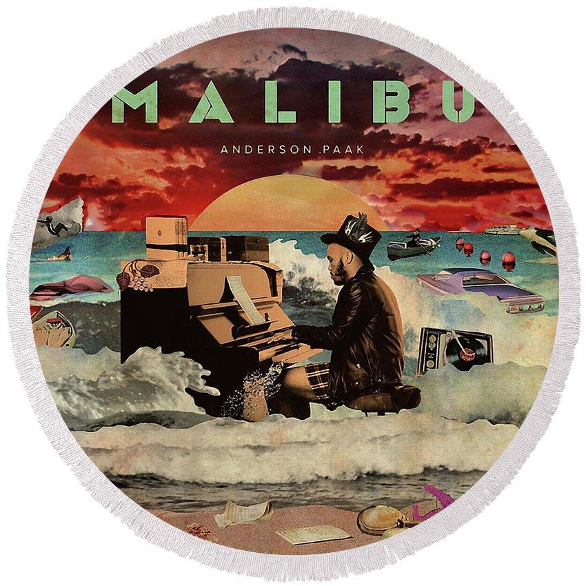 Music Rap Hip Hop Dre R B Anderson Paak Cali Malibu Schoolboy Bj Round Beach Towel featuring the digital art Malibu by Ratu Remet