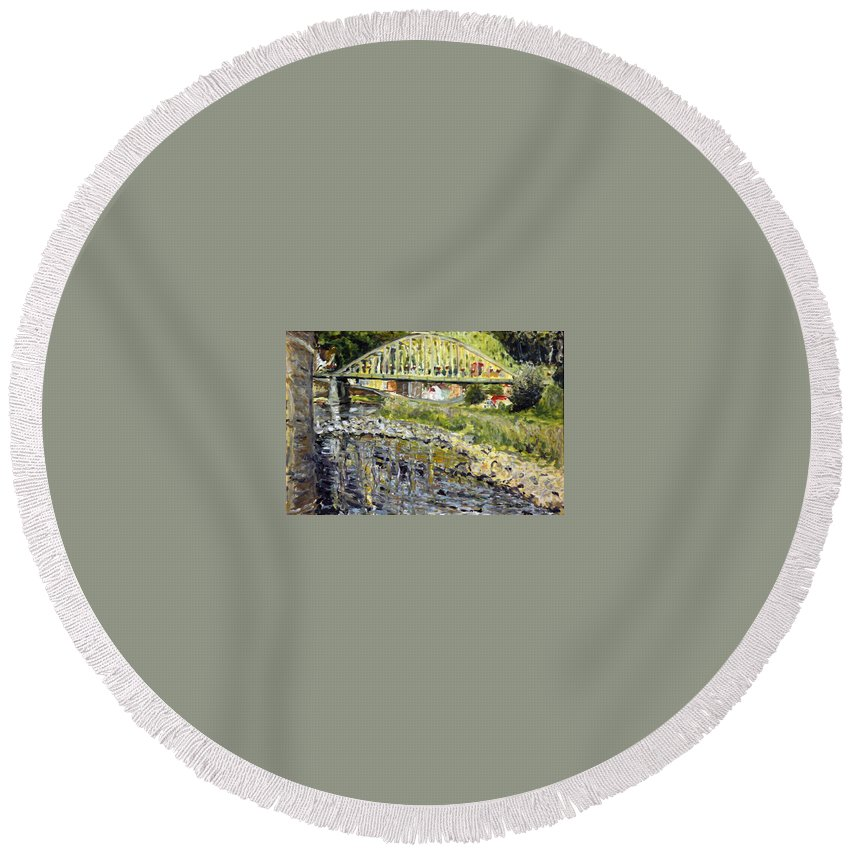 Landscape Round Beach Towel featuring the painting Malo Vody by Pablo de Choros