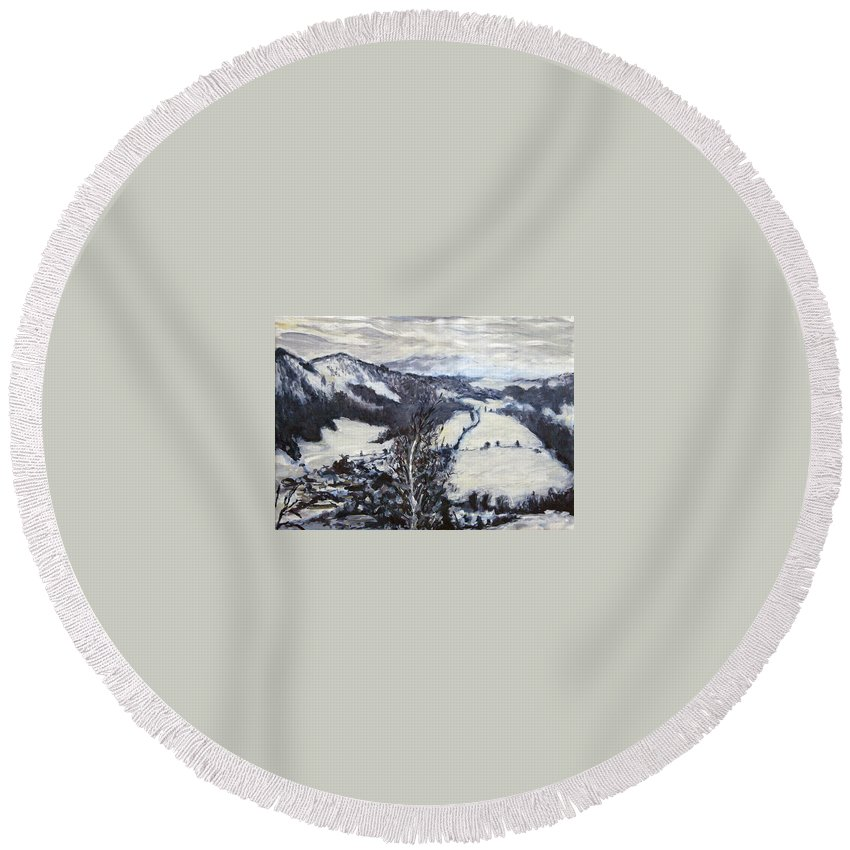 Landscape Round Beach Towel featuring the painting Malsovice V Zime by Pablo de Choros